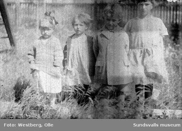Gruppbild med fyra barn i utemiljö på Alnö.