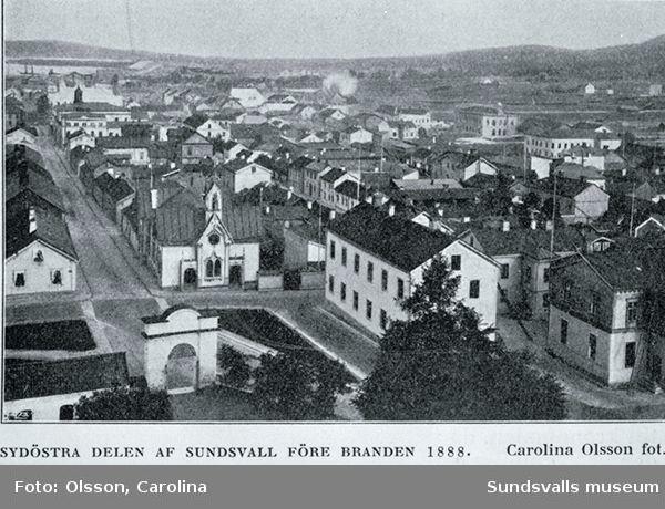 Sydöstra delen av Sundsvall före branden 1888.
