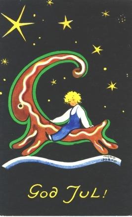 God Jul. Julkortet är avstämplat 24/12 1930 i Hälsingborg.