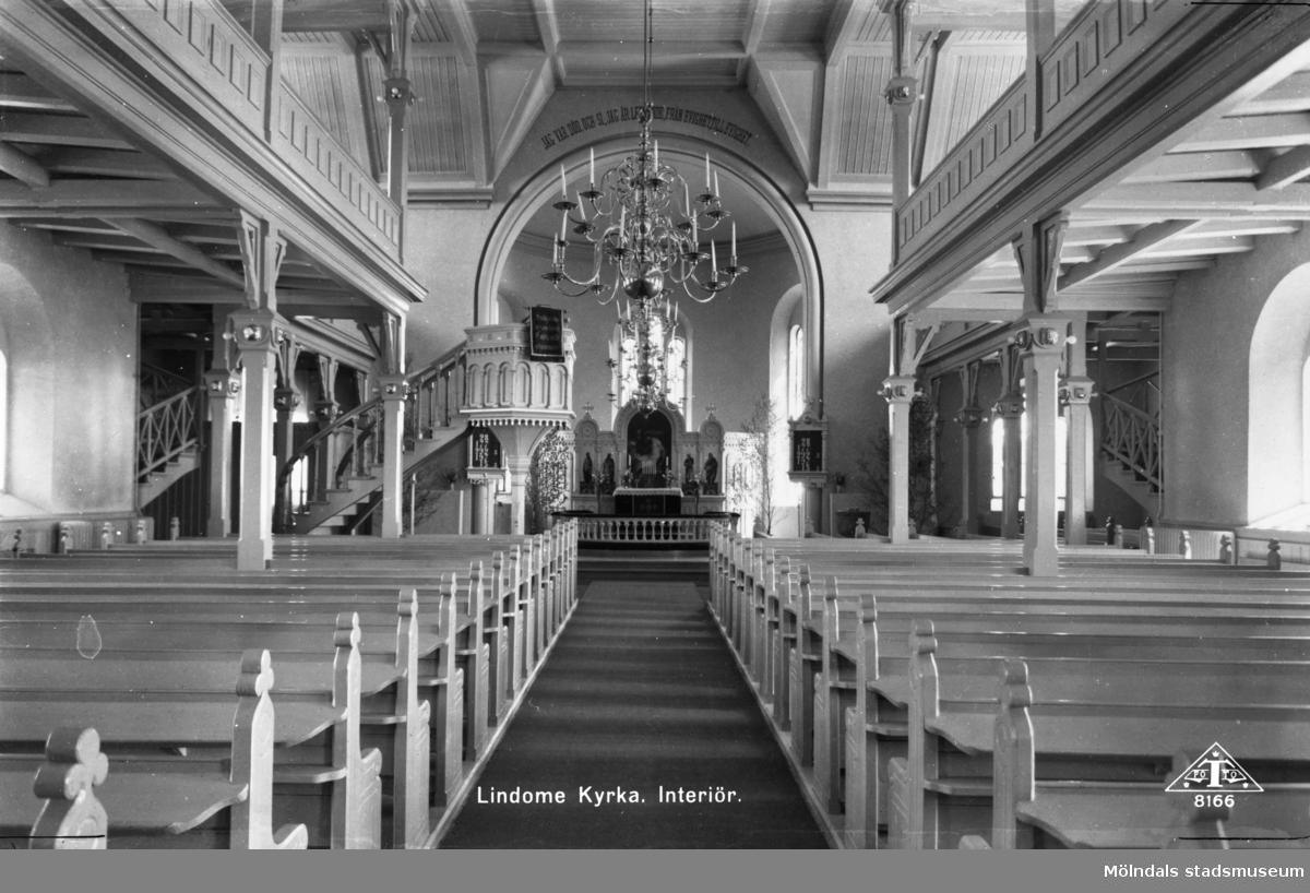 """Interiör i Lindome kyrka"", 1930 - 50-talet."