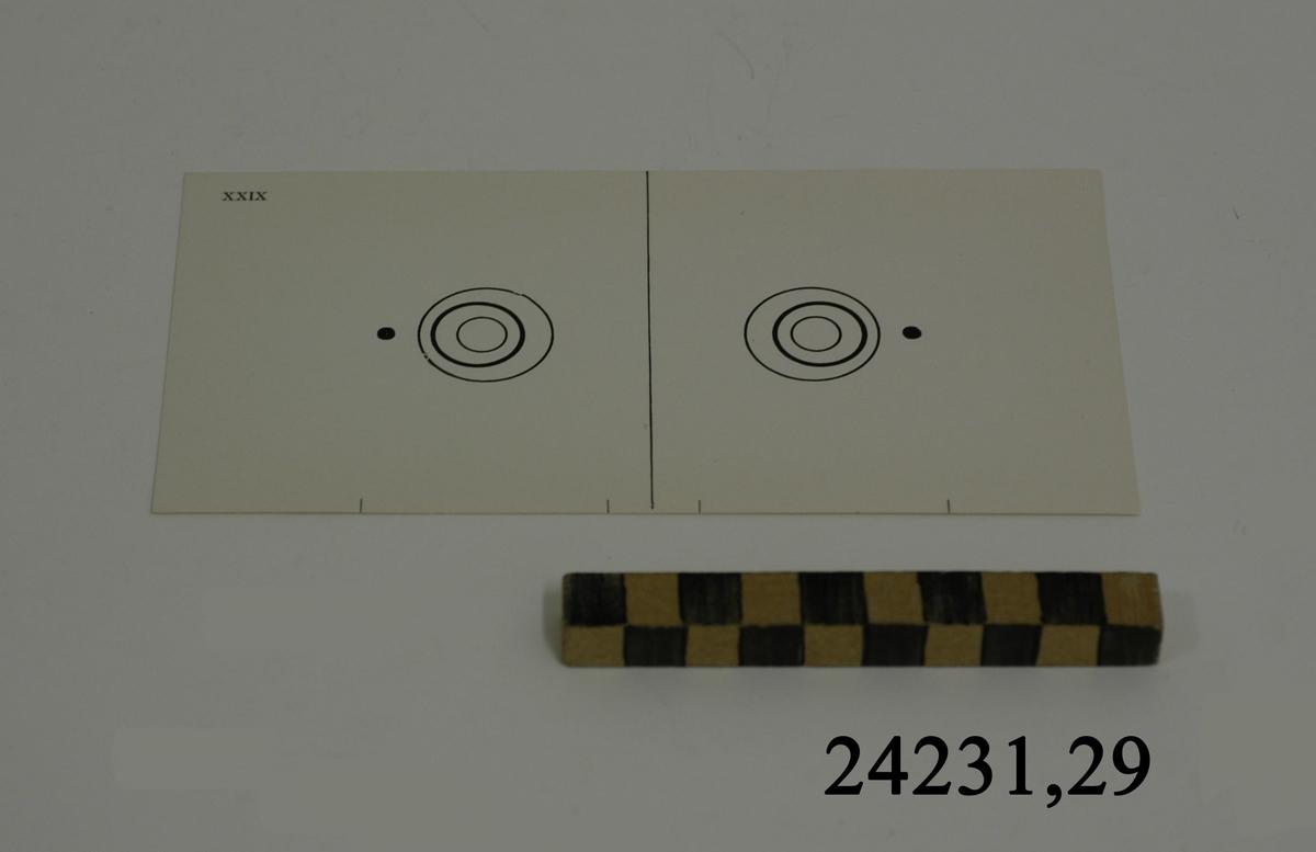 Rektangulärt vitt pappersark numrerat XXIX i övre vänstra hörnet. På arket syns två stycken olika bilder i svartvitt, en för vardera öga. Till vänster: En cirkel innehållande två mindre cirklar med fösskjutna avstånd åt vänster. Till vänster om figuren en svart punkt. Till höger: Samma figur med förskjutning åt höger. Till höger om dessa en svart punkt.