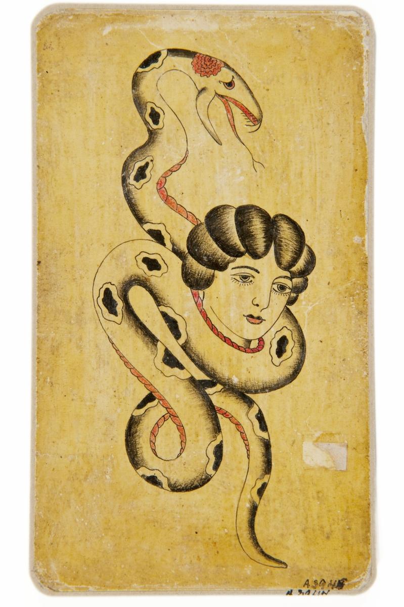 Tatueringsförlaga. Ett kvinnohuvud omslingrat av en orm med svarta fläckar.