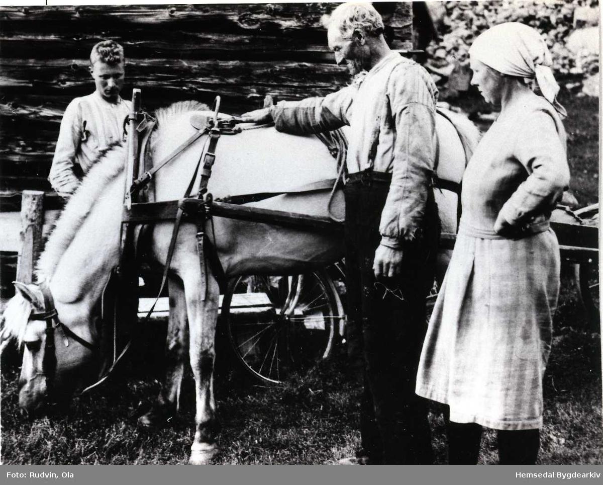 Per, Knut og Kari Rundtop heime på garden Rundtop, 55.13