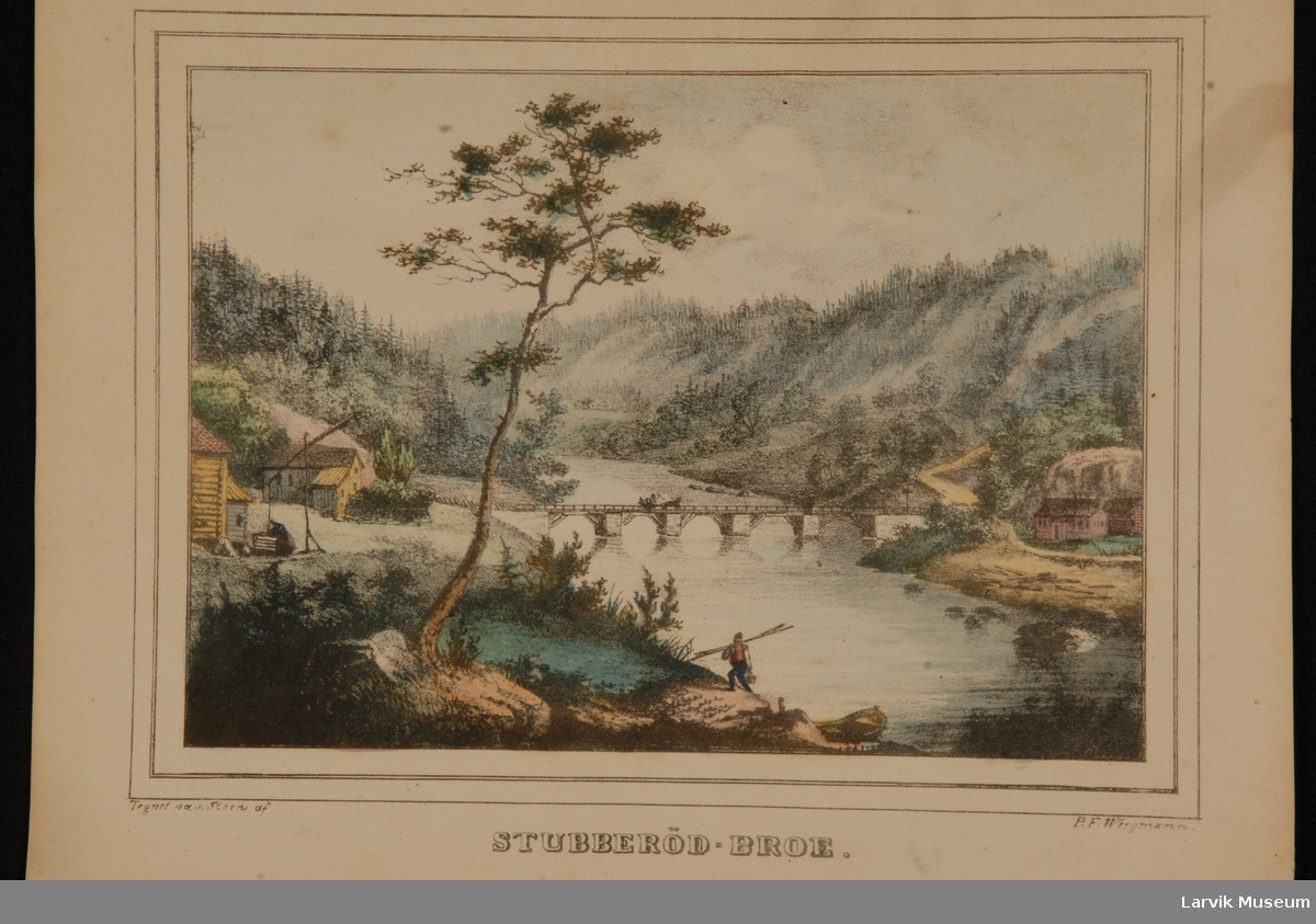 landskap med sjøhus. Stubberødbroen m/4 kar Stubberød Broe
