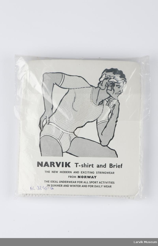 Tegning av en mann i undertøy på pappbaksiden. Plastposen: Fjelltopper  og produktbeskrivelse