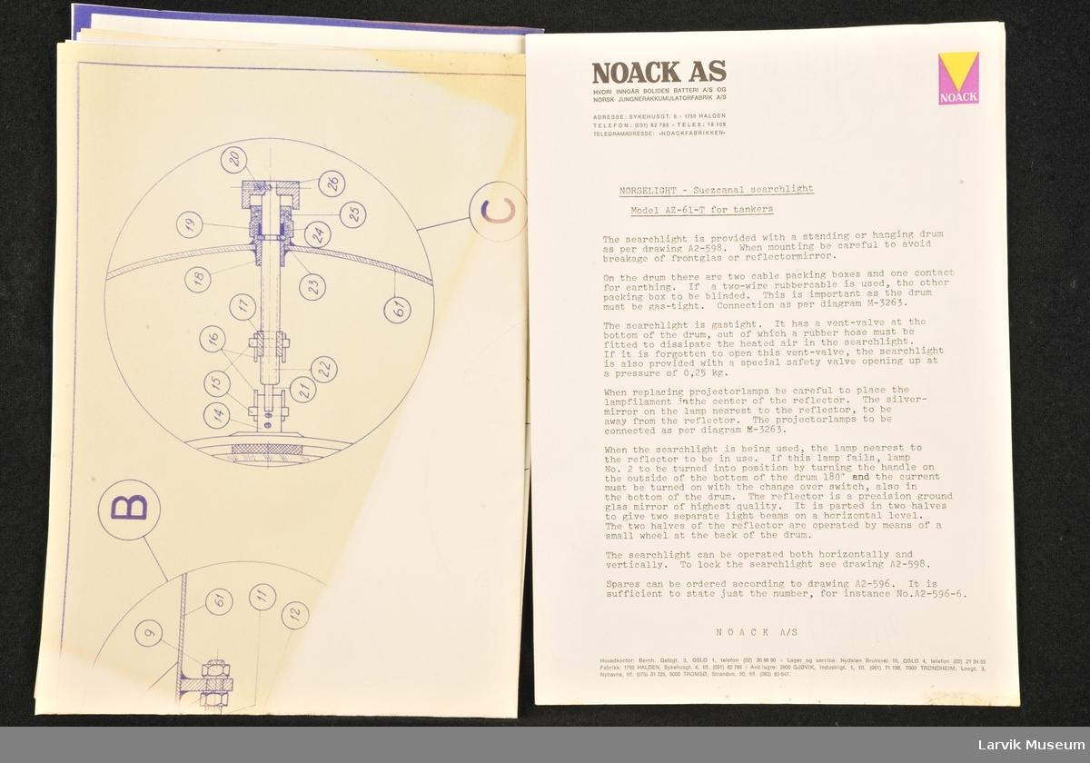 1 beskrivelse/bruksanvisning og 3 tegninger av Norselight - Suezkanal lyskaster. Modell AZ-61-Tfor tankskip
