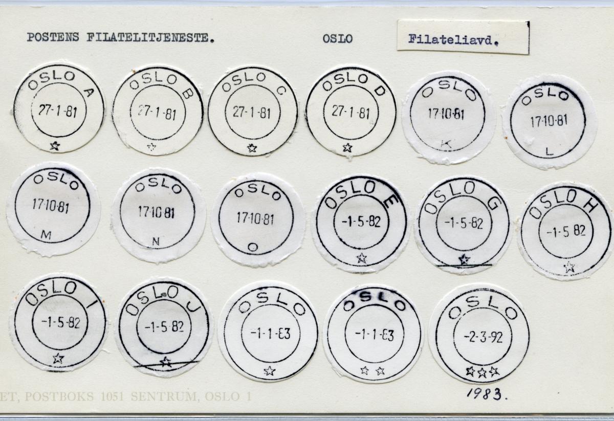 Stempelkatalog  Oslo,Postens Filatelitjeneste, Oslo