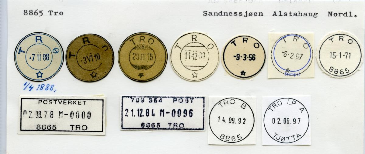 Stempelkatalog 8865 Tro (Trø), Sandnessjøen, Alstadhaug, Nordland