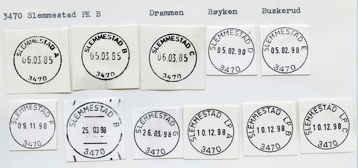 Stempelkatalog  3470 Slemmestad, Røyken kommune, Akershus