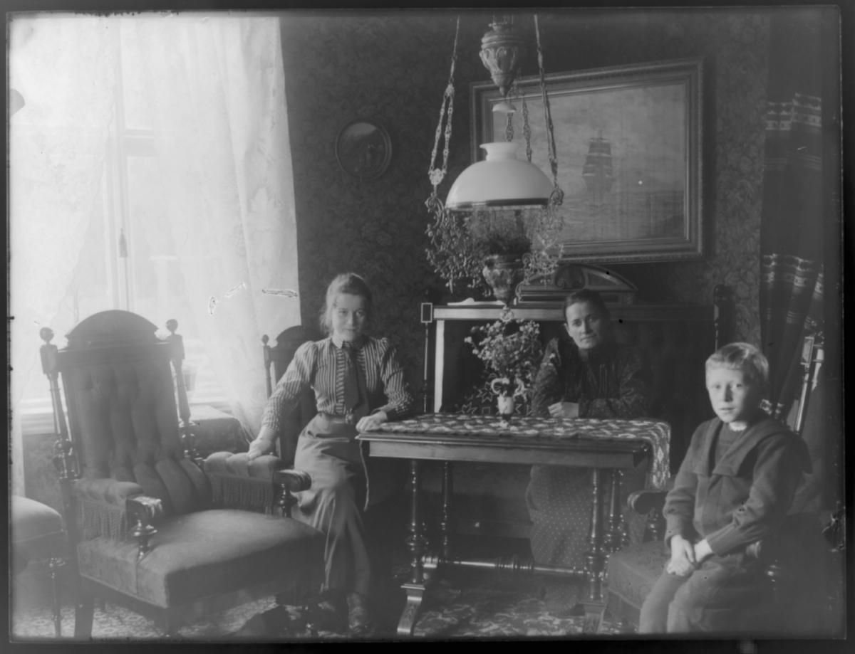 To kvinner og en gutt fotografert inne på gården Birkelund i Tana