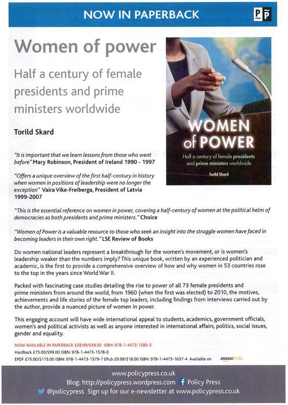 Presentasjon på engelsk av Torild Skards bok Women of power