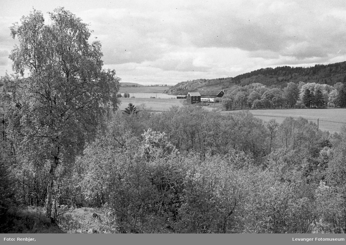 Landskap fra Lillemarksbakkene. Mo Gård og Eidsboten.