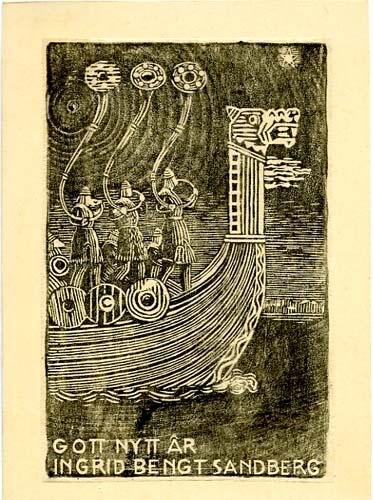 """Tre män i fören av ett vikingaskepp blåser i horn, ovan texten: """"GOTT NYTT ÅR INGRID BENGT SANDBERG"""""""
