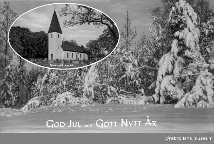 Norrbyås kyrka, exteriör.Bilden tagen för jul- och nyårskort (text: God Jul och Gott Nytt År).