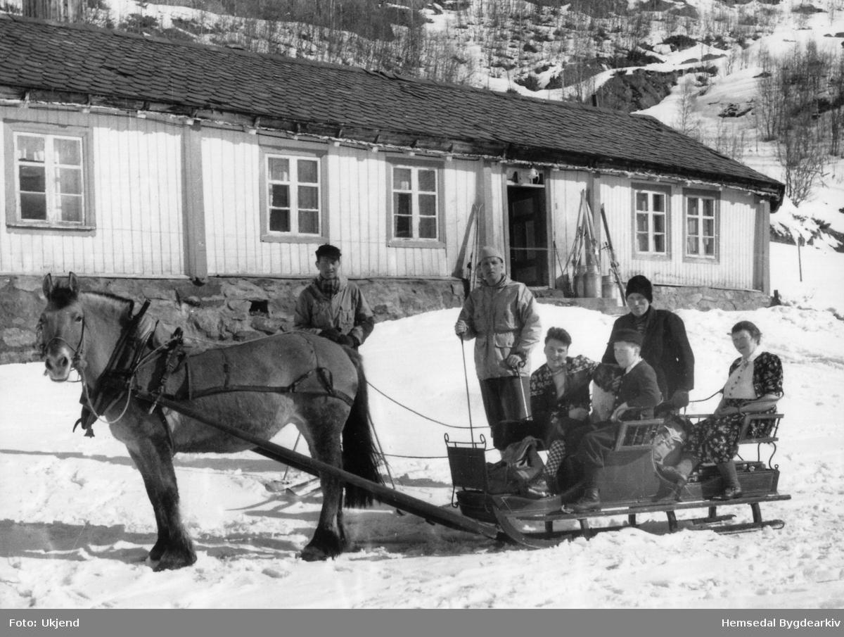 """Søre Hulbak,ca.1944. Familien Ola E. Hulbak i kyrkjesluffa. Frå venstre i sluffa: Erik, fødd 1931; Edward, fødd 1936, Ola, fødd 1888 og Inga, fødd 1900. Bak sleden står Einar Walmås, banksjef i Bærum Sparebank. Mannen bak sluffa er ukjend.  Hesten """"Borka"""" vart 26 år gamal. Hesten gjekk åleine til Hydalen sumarstid"""