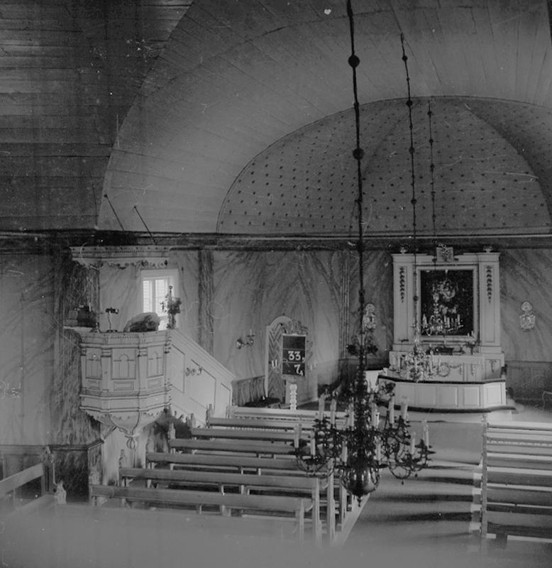 Hjulsjö kyrka, interiör.18 juni 1945