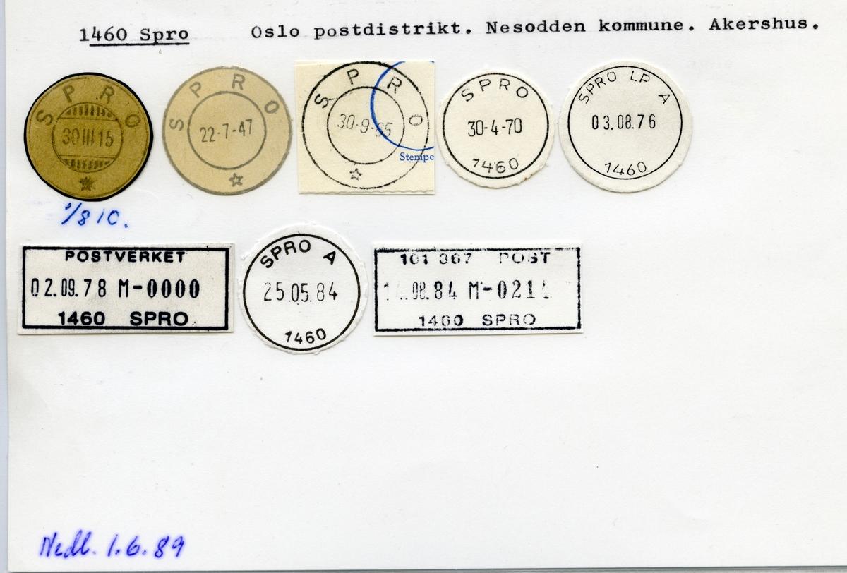 Stempelkatalog 1460 Spro, Nesodden kommune, Akershus
