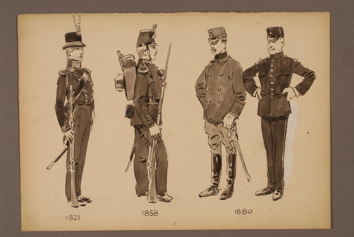 Plansch med uniform för Kadettkåren och elever vid Krigsskolan för åren 1821-1880, ritad av Einar von Strokirch.