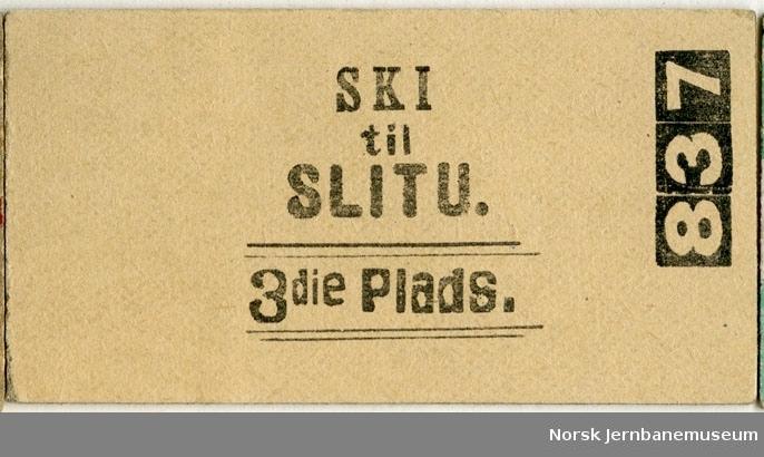 Billett Ski-Slitu, 3die Plads, ubrukt