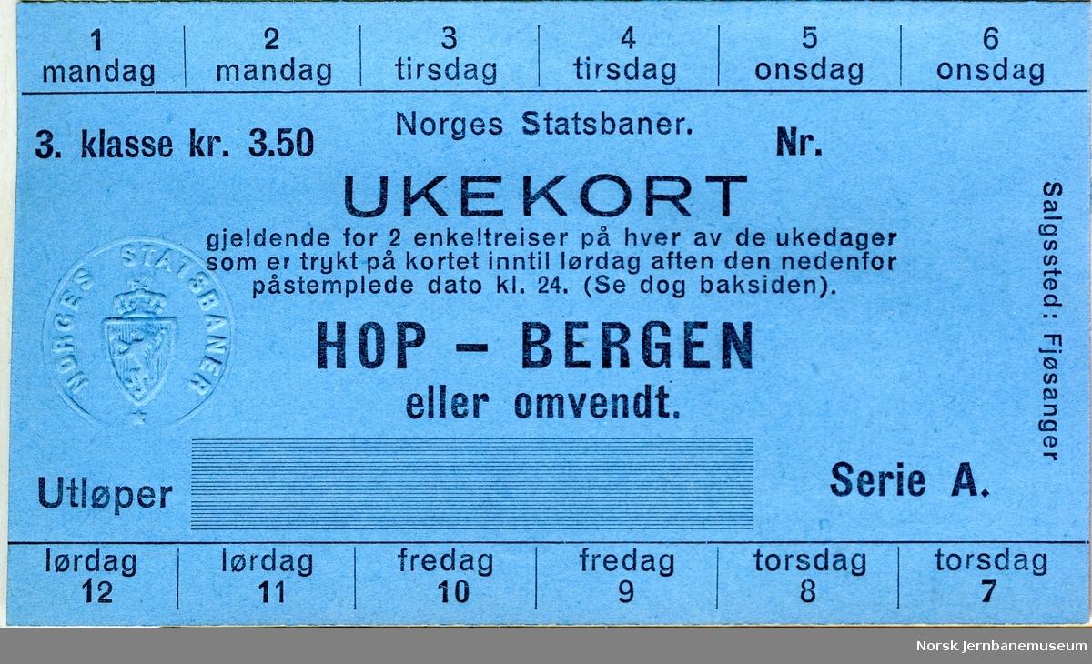 Ukekort Hop-Bergen, 3. klasse