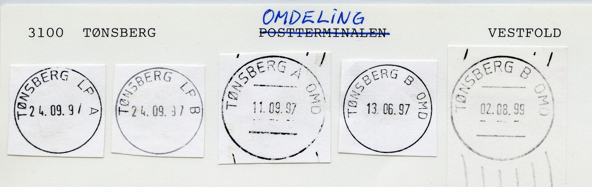 Stempelkatalog 3100 Tønsberg (Tonsberg), Vestfold