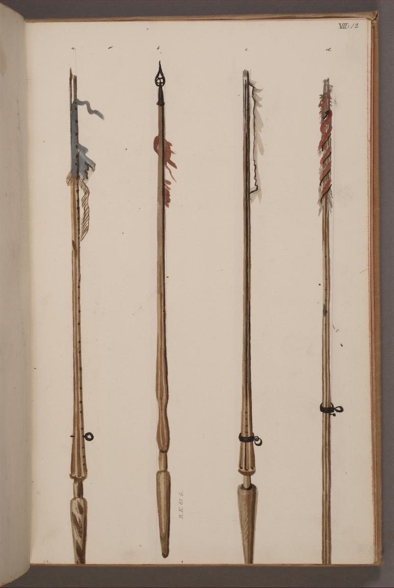 Avbildning i gouache föreställande fan- och standarstänger tagna som troféer av svenska armén. De två vänstra stängerna finns bevarade i Armémuseums samling, för mer information, se relaterade objekt.