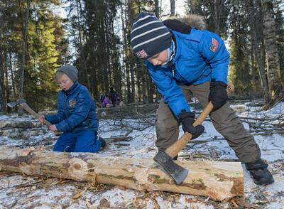 Skoleelever under temadagen Fra stubben til tømmervelta 15/2 2016