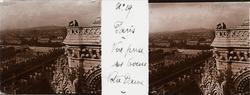Stereobild av glas, utsikt över Paris, sett från Notre Dame.