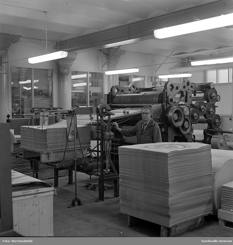 Boktryckeri AB (senare Tryckeribolaget) har installerat nya pressar. Lägg märke till de vackra järnkolonnerna som bär upp takbjälklaget.