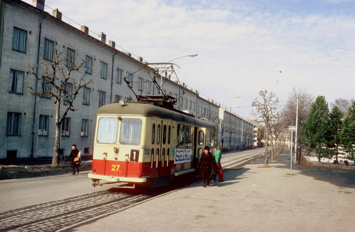 Trondheim trafikkselskap vogn 27 på Lademoen.