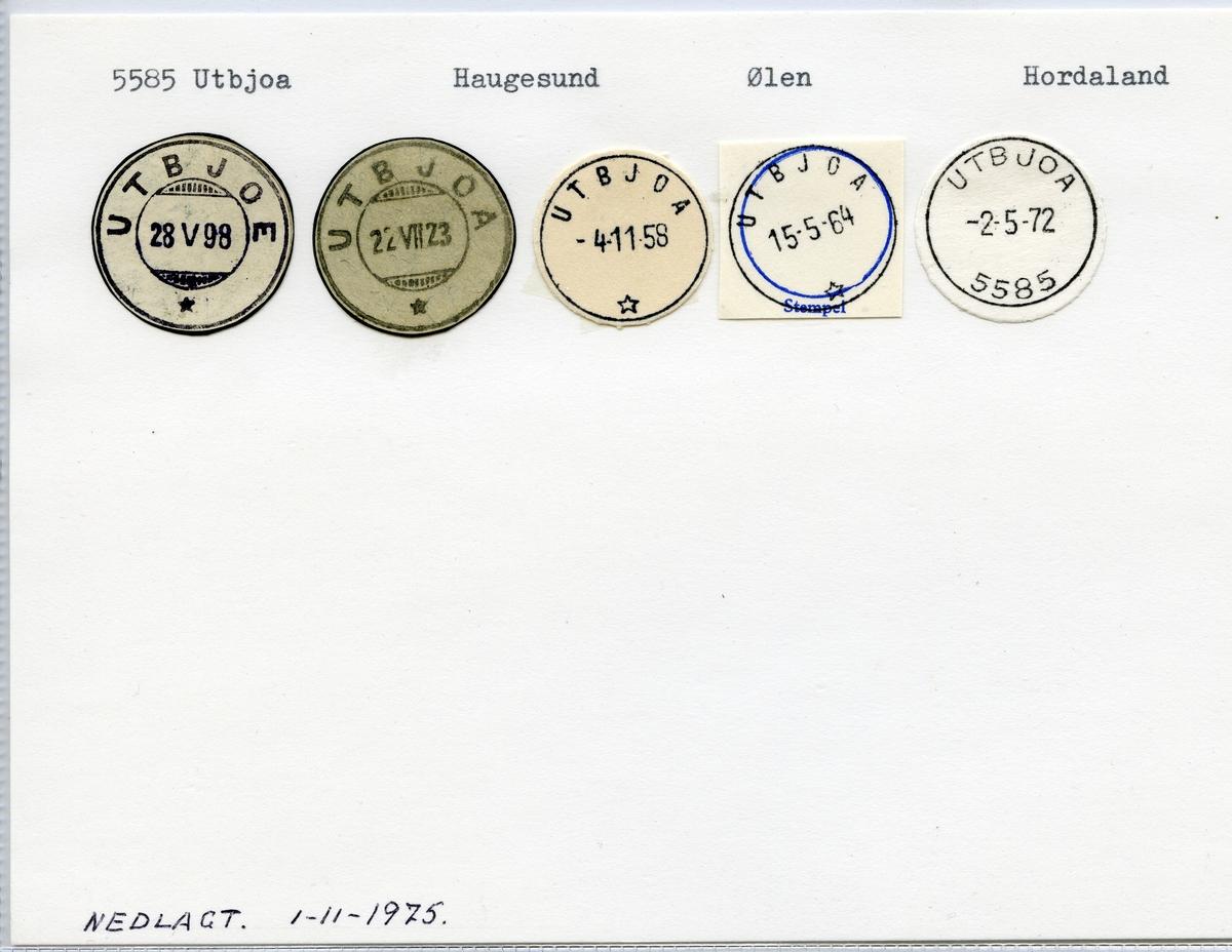 Stempelkatalog 5585 Utbjoa (Utbjoe), Haugesund, Ølen, Hordaland