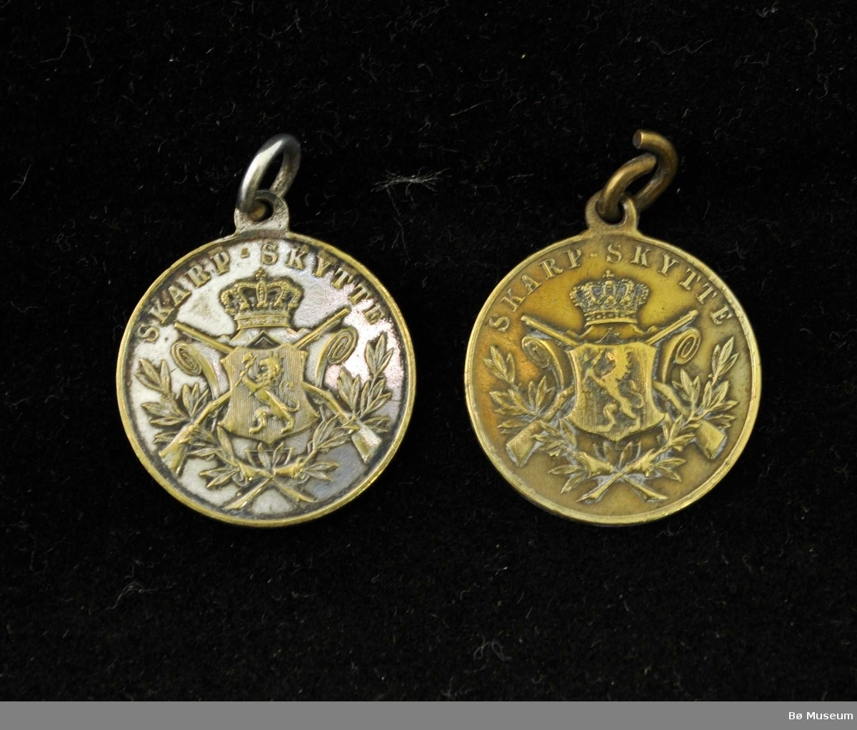 Sirkelformet medalje med løve, krone, korslagte gevær og grener på den ene siden, på den andre siden enkel kantbord. Samt 5 medaljenåler.