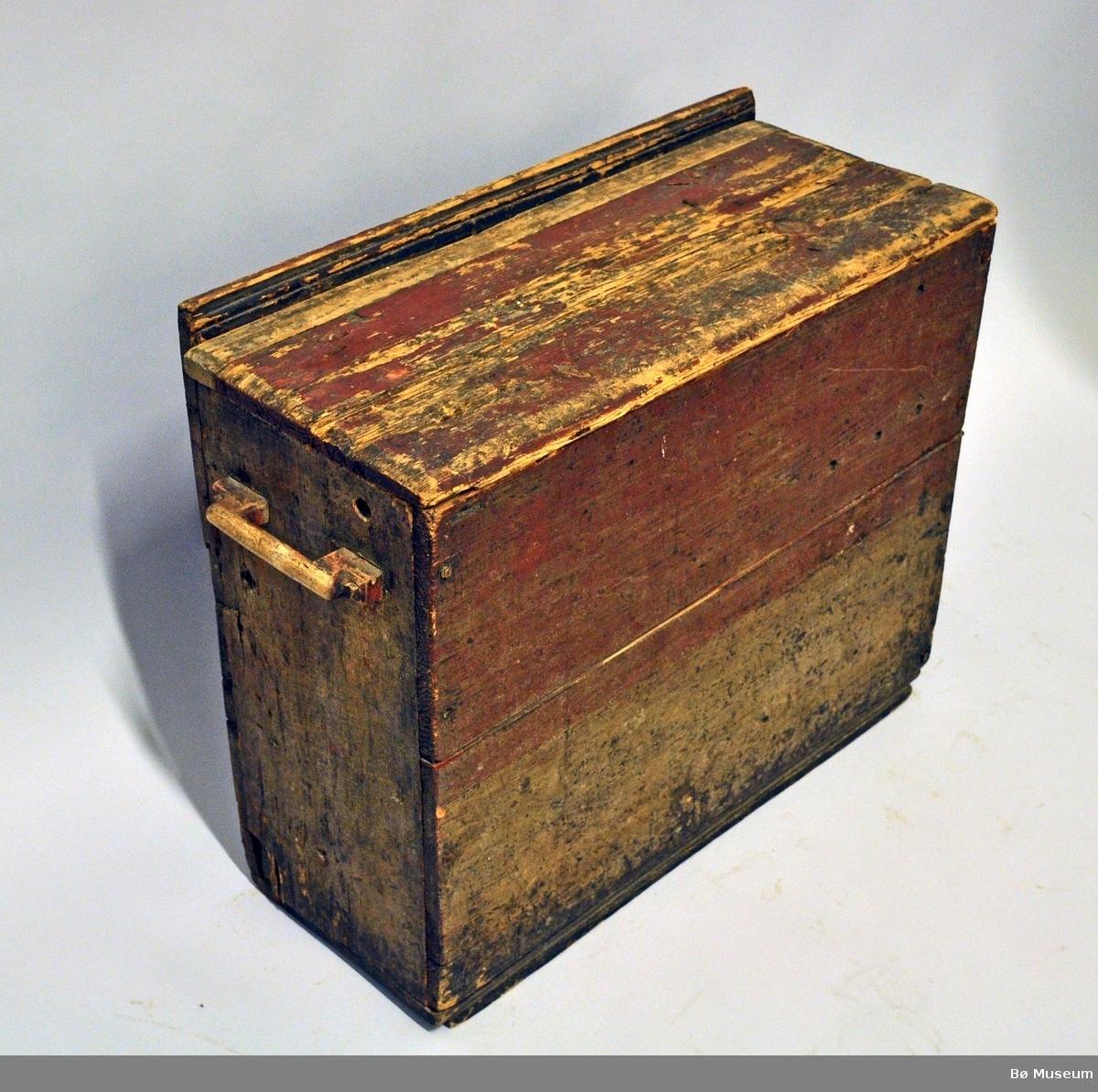Form: Kasse m. fire sider, botn og laust lok. Øvste