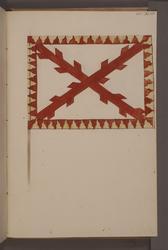 Avbildning i gouache föreställande fana tagen som trofé av s
