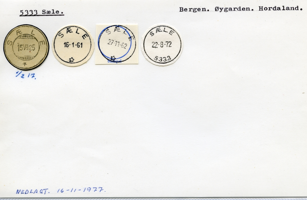 Stempelkatalog 5333 Sæle, Bergen kommune, Hordaland