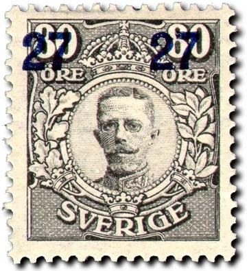 Gustaf V i medaljong - Provisorier, påtryck.