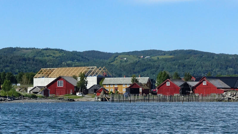 The museum seen from the Trondheim fjord. At the back you can see the new exhibition building taking shape.
