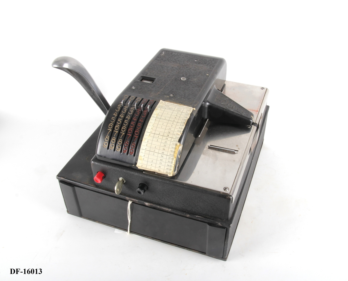Kasseapparat med pengeskuff og sveiv på siden.