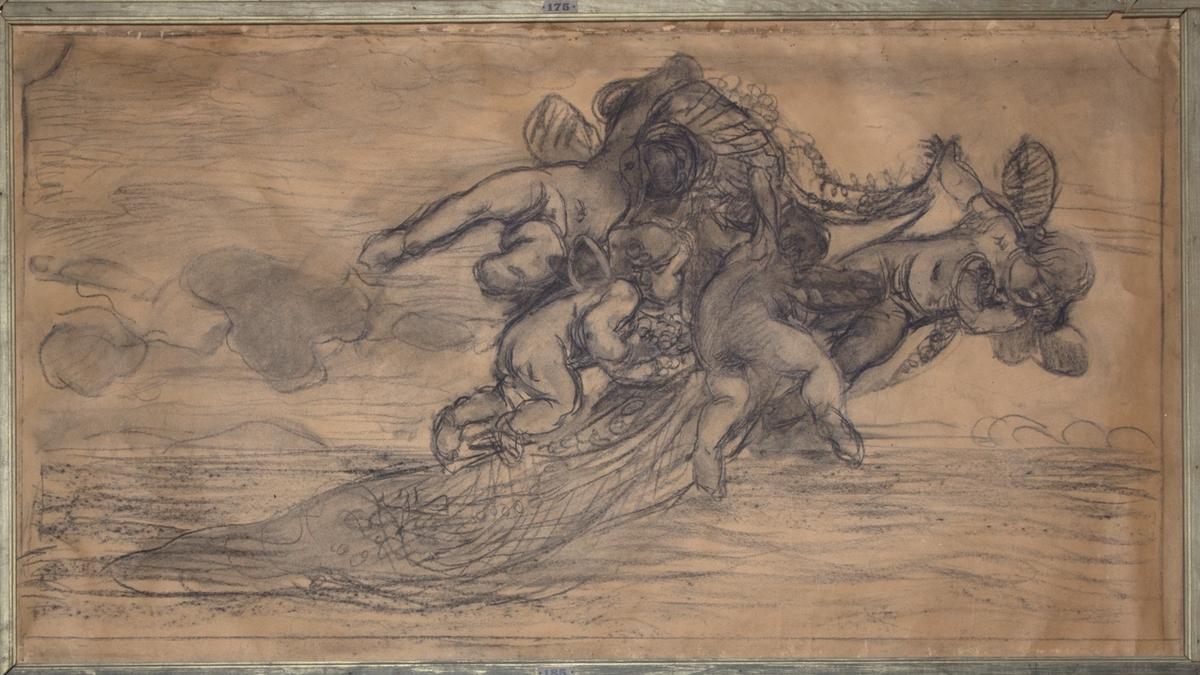 Fyra flygande amoriner i helfigur bärande på Venus slöja. Skissartat utförande.