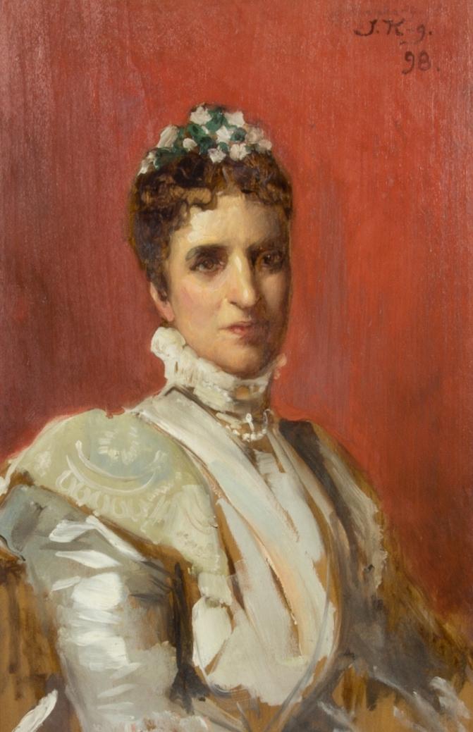 Midjebild av kvinna, Maria Ekman, klädd i vit sidenklänning. Blomsterprydnad i håret. Rödbrun bakgrund. Skissartat utförande.