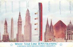 Längden på fartyget RMS Olympic jämfört med bl.a. Cheopspyra