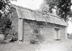 Äldre timrat bostadshus med förfallet torvtak i Högsby.