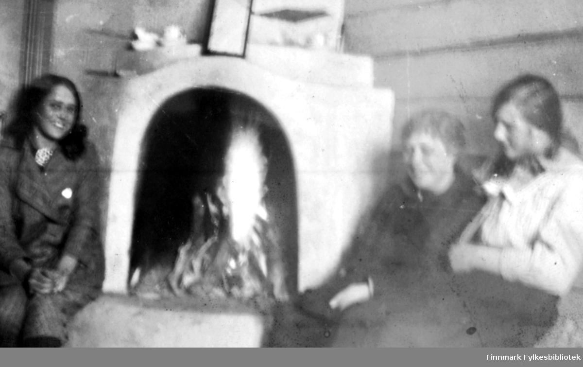 Grønlien, mai 1917. Tre kvinner sitter rundt en peis ved bålet. Til venstre en yngre kvinne i sportslig drakt med en stor brosje eller sølje i halsen. Til høyre en litt eldre dame nærmest bålet og en ung pike sitter ved siden av. Ref. også FBib.01010-116 som viser at dette er en hytte. Bildet er bevegelsesuskarpt, men vi kan se gjenstander som står plassert oppå peisen.