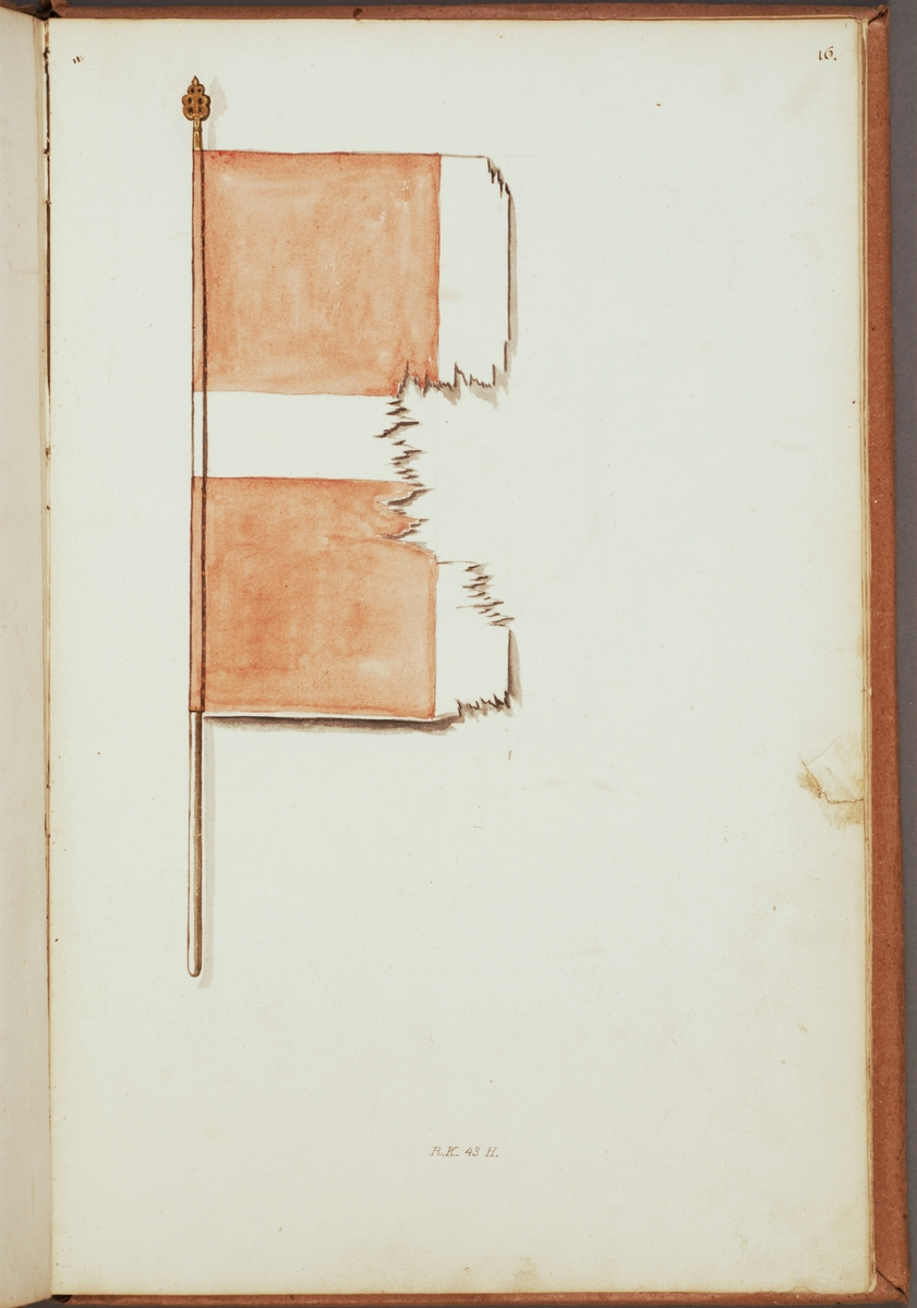 Avbildning i gouache föreställande fälttecken taget som trofé av svenska armén. Den avbildade fanan finns inte bevarad i Armémuseums samling, för mer information, se relaterade objekt.