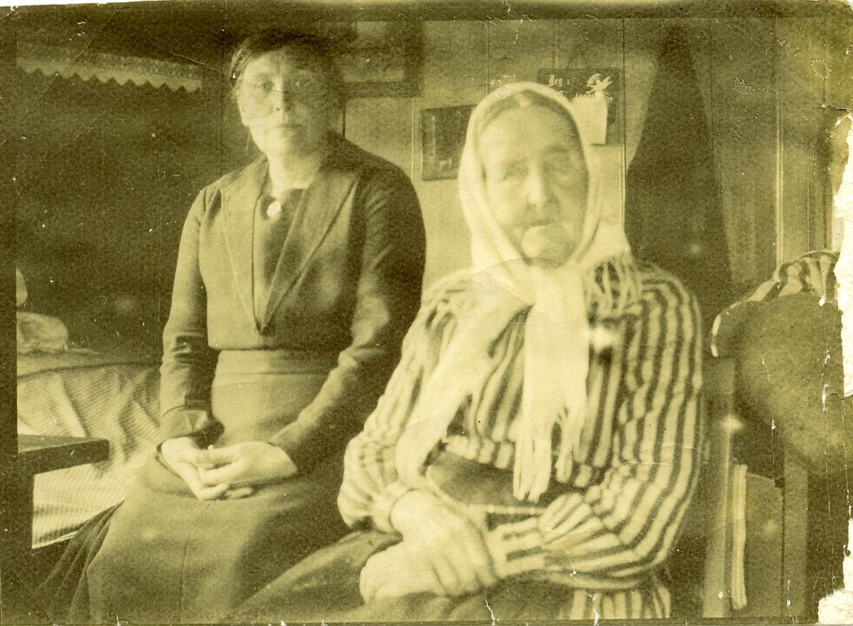 Marit Fønhus sammen med sin mor Ingebjørg Islandsmoen. De sitter i gamlebygningen på Islandsmoen i Sør-Aurdal.