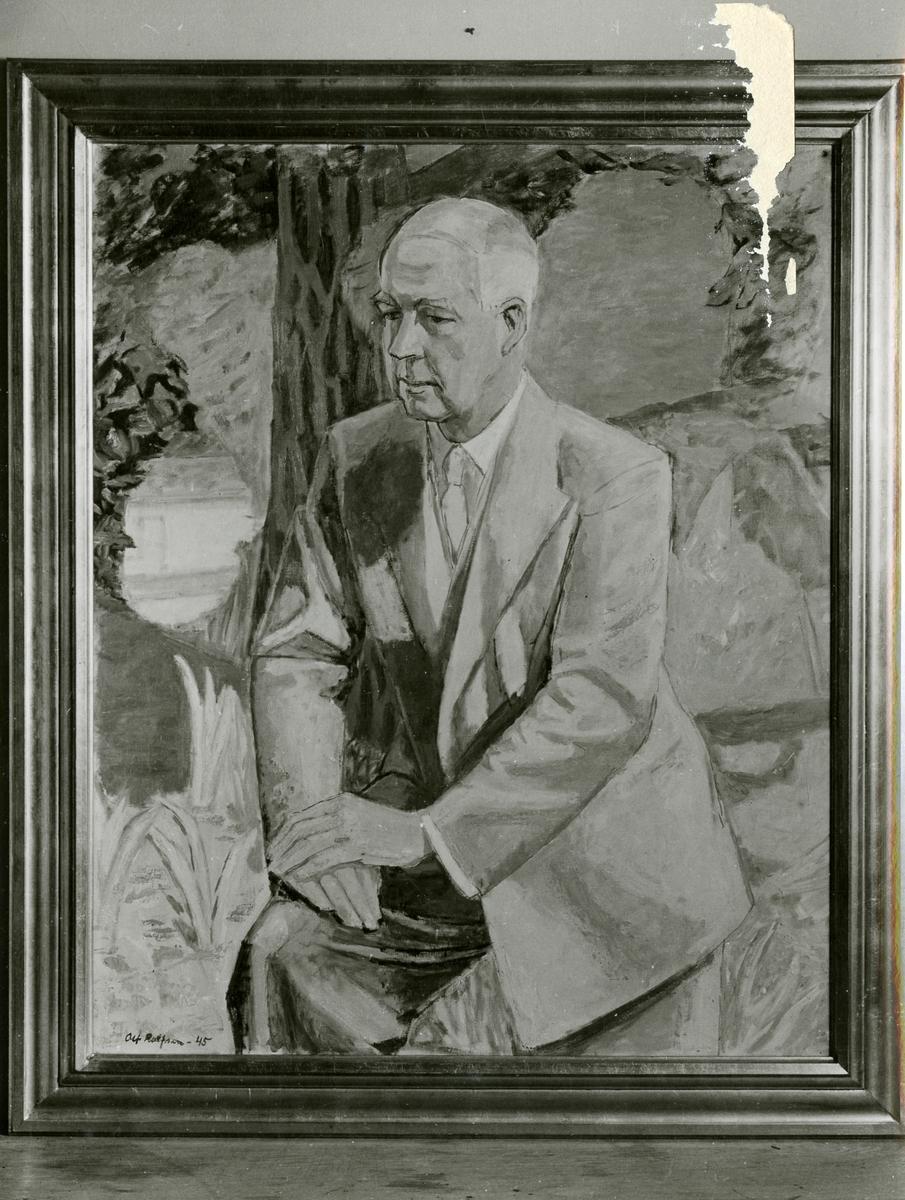 Avbildet foto av et maleri av Sigurd Grieg. År 1945.