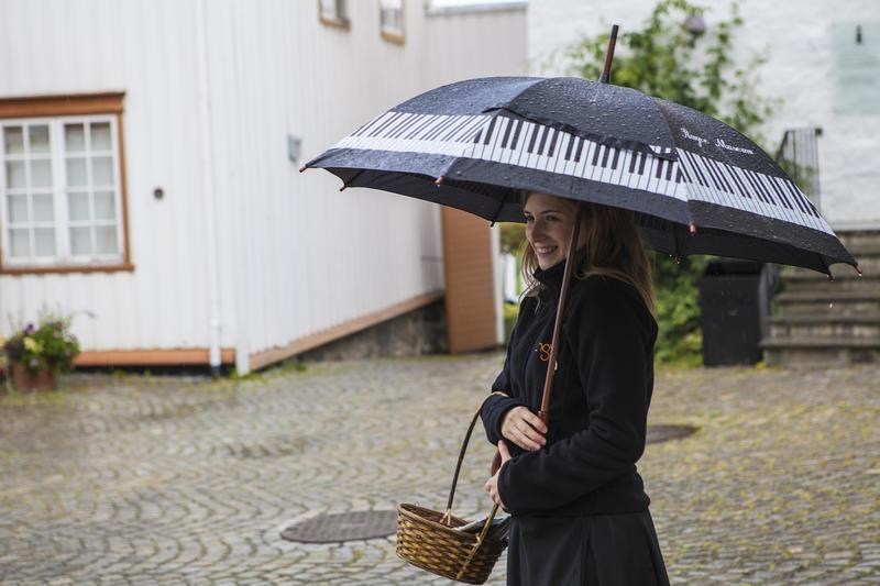 Omviser med paraply
