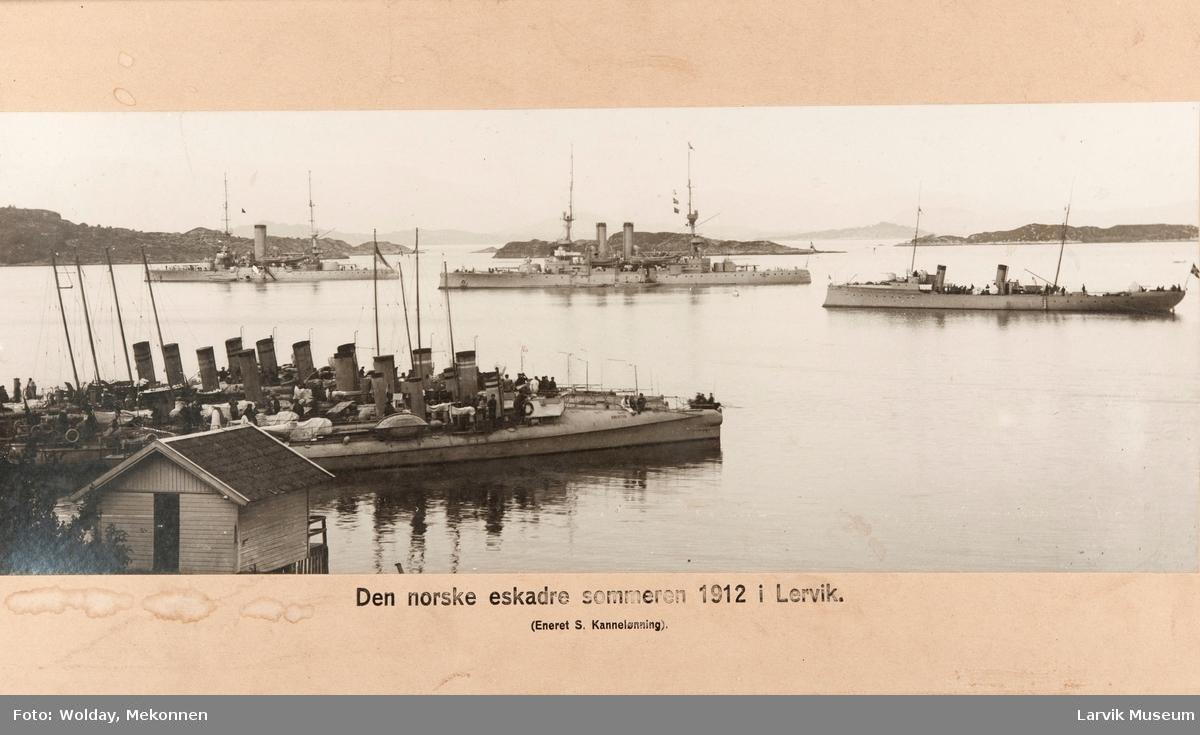 Den norske eskadre sommeren 1912 i Lervik.
