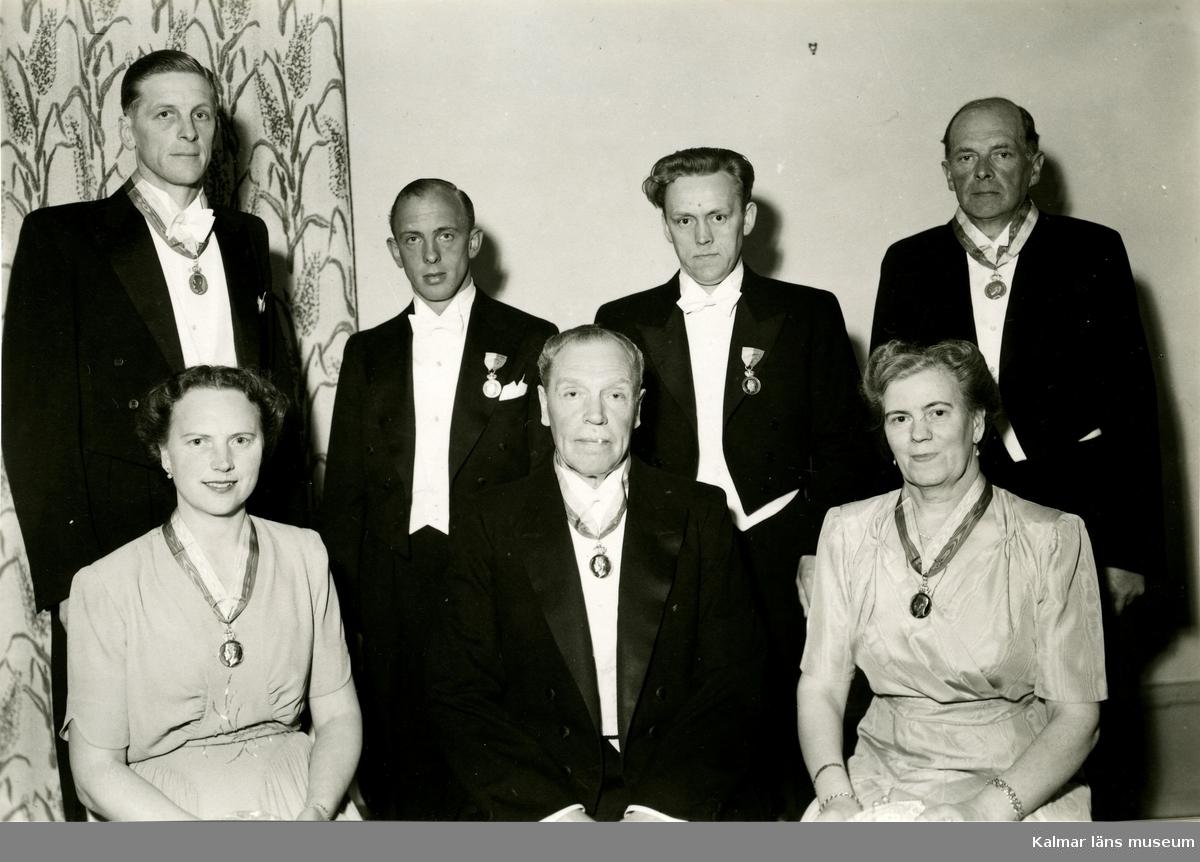 Personalen vid Ludwigs Varuhus i Kalmar 1940-talet.  Bejne. Nyrén. Helge Friberg. Avd chef Larzén.