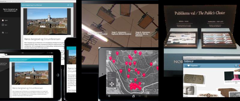Webpresentasjon til publikums enheter. Kiosk i utstilling. Bruk av API-et (fra venstre)